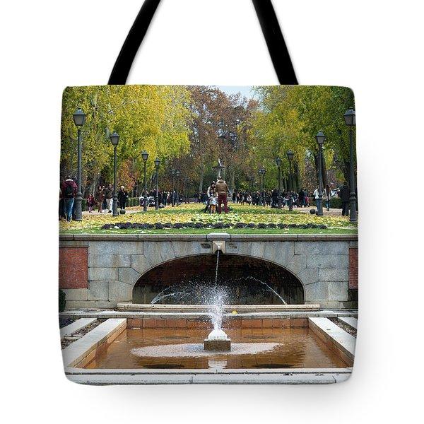 fountain in Buen Retiro  Tote Bag