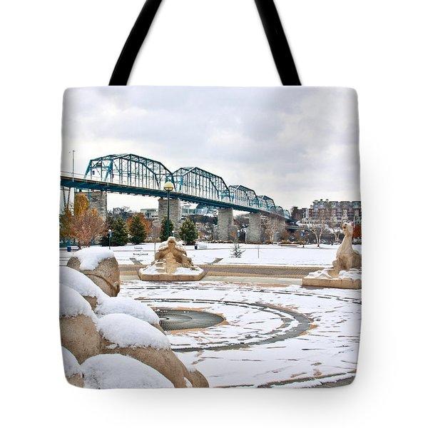 Fountain In Winter Tote Bag