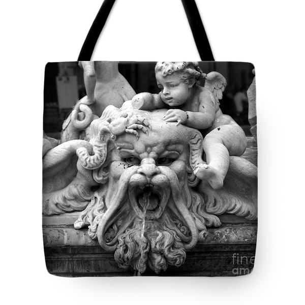 Fountain Of Neptune Detail In Rome Tote Bag