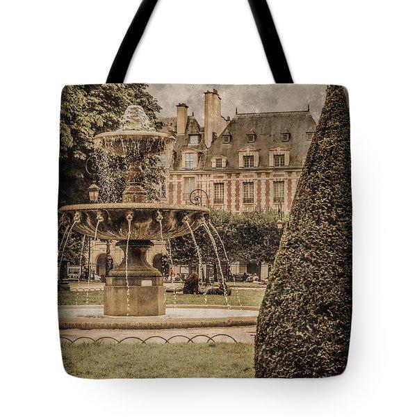 Paris, France - Fountain, Place Des Vosges Tote Bag