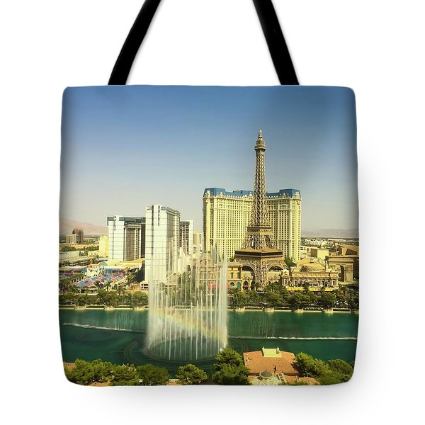 Tote Bag featuring the photograph Fountain Rainbow by Chris Feichtner
