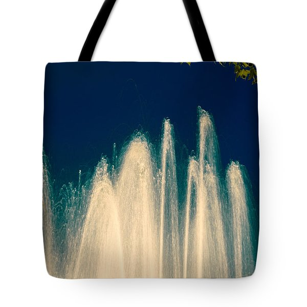 Fountain Stream By Night Tote Bag