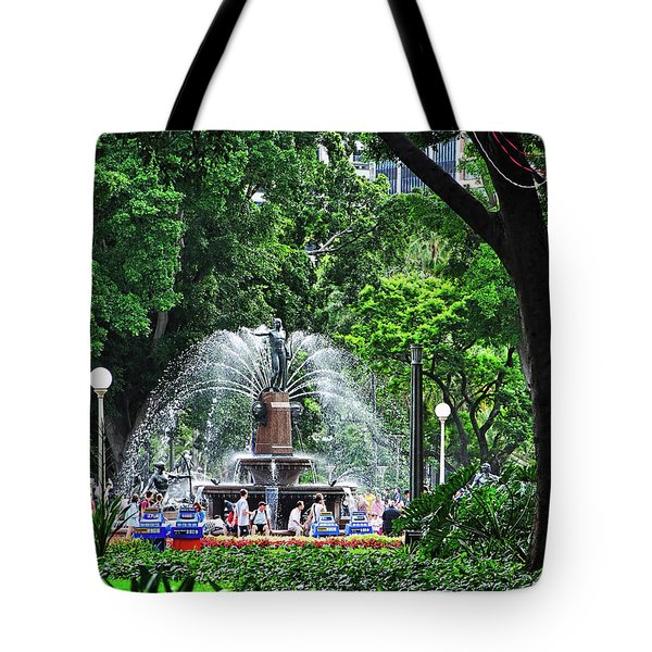 Tote Bag featuring the photograph Fountain Through The Trees By Kaye Menner by Kaye Menner