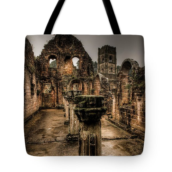 Tote Bag featuring the photograph Fountains Abbey In Pouring Rain by Dennis Dame