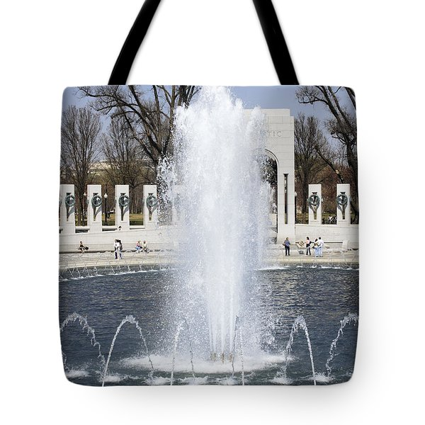 Fountains At The World War II Memorial In Washington Dc Tote Bag