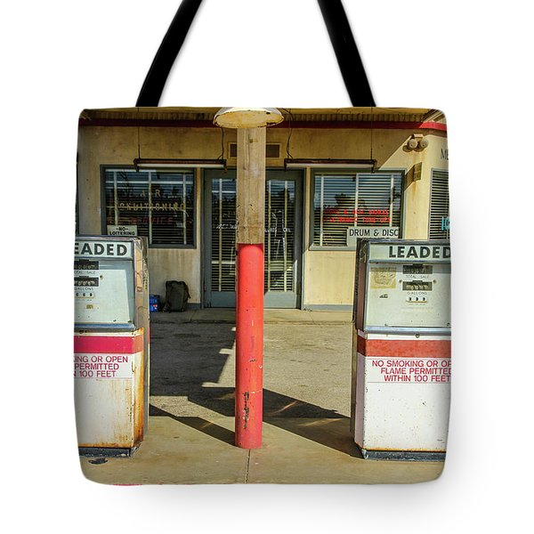 Four Aces Store And Gas Pumps Tote Bag