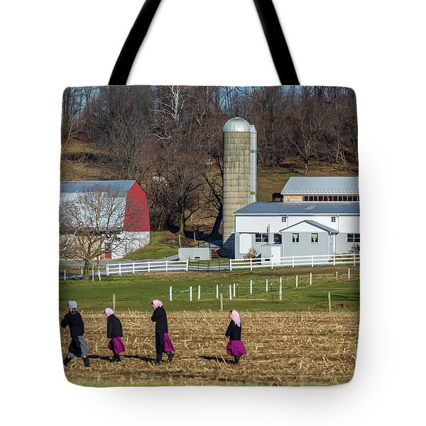 Four Amish Women In Field Tote Bag