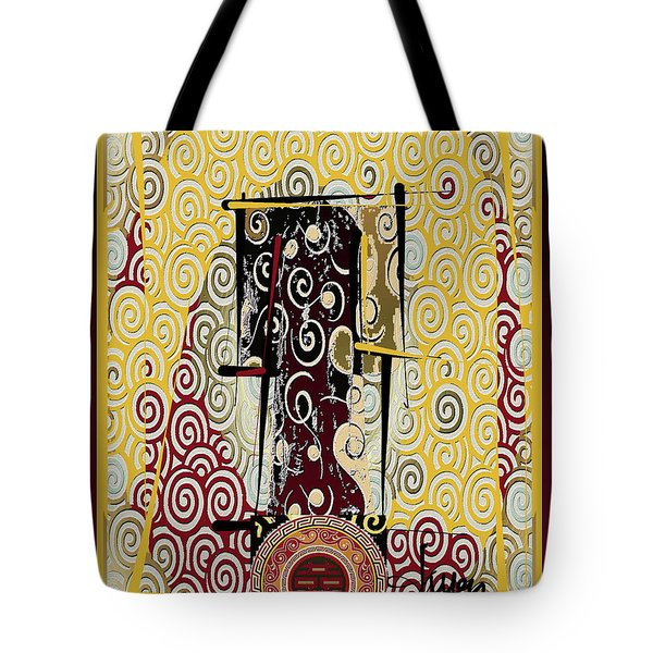 Tote Bag featuring the mixed media Four Blessings Double Happiness Japanese Kimono by Larry Talley