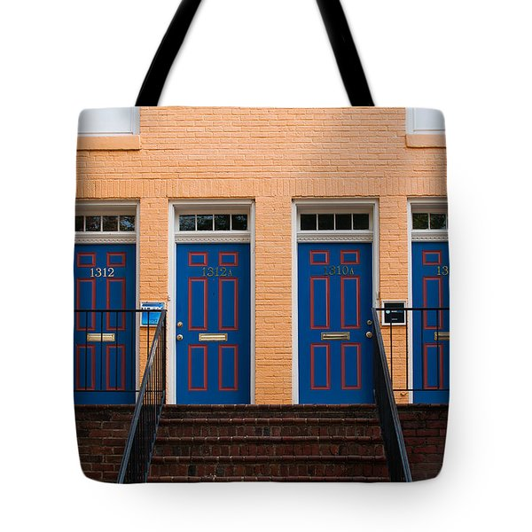 Tote Bag featuring the photograph Four Blue Doors by Monte Stevens
