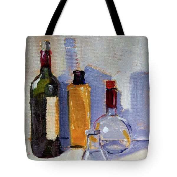Tote Bag featuring the painting Four Bottles by Nancy Merkle