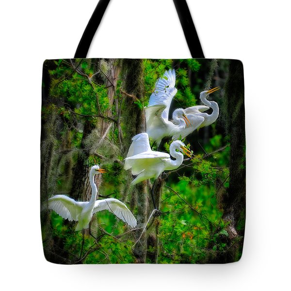 Tote Bag featuring the photograph Four Egrets by Harry Spitz