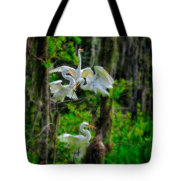 Tote Bag featuring the photograph Four Egrets In Tree by Harry Spitz