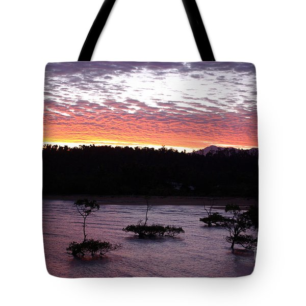 Tote Bag featuring the photograph Four Elements Sunset Sequence 8 Coconuts Qld  by Kerryn Madsen - Pietsch
