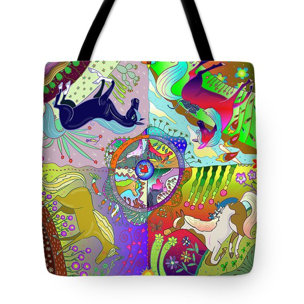 Tote Bag featuring the digital art Four Fabulous Horses by Marti McGinnis