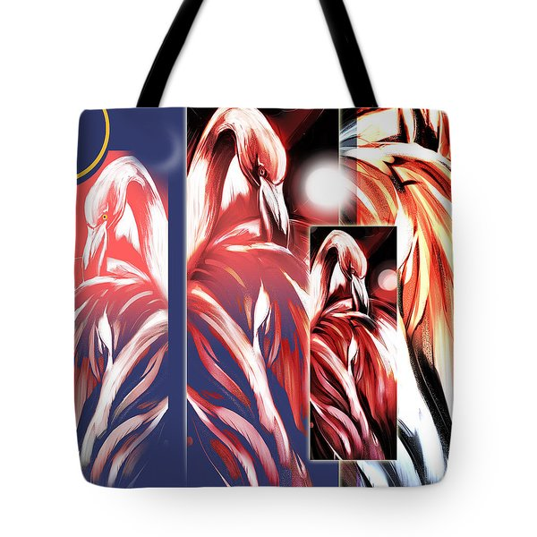 Four Flamingos Tote Bag