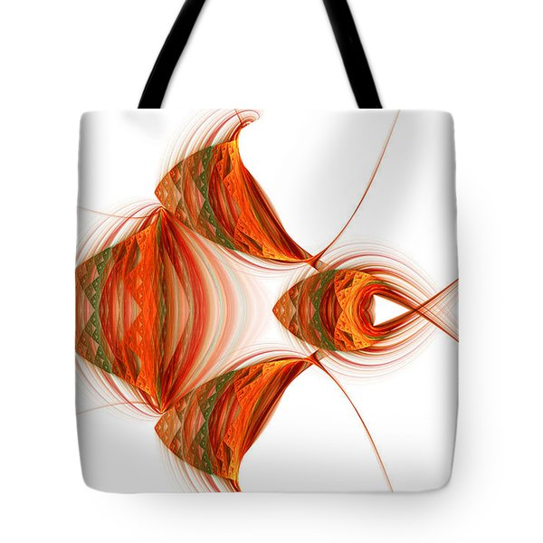Tote Bag featuring the digital art Four Fractal Fishies by Richard Ortolano