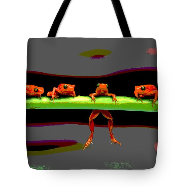 Tote Bag featuring the photograph Four Frogs by Charles Shoup
