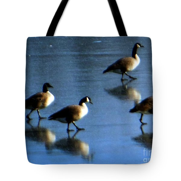 Four Geese Walking On Ice Tote Bag