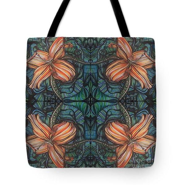 Four Lilies Leaf To Leaf Tote Bag