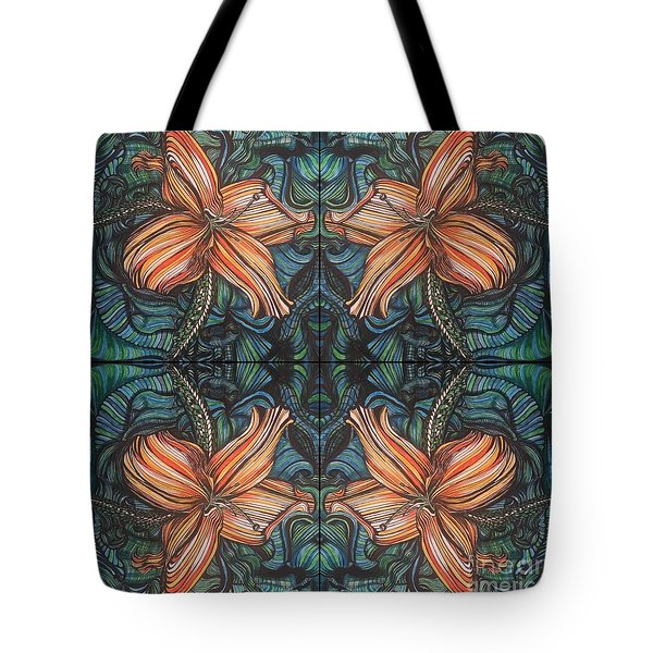Four Lilies Looking In Tote Bag
