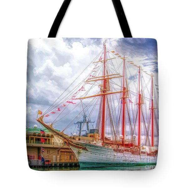 Four Masted Schooner In Port Tote Bag