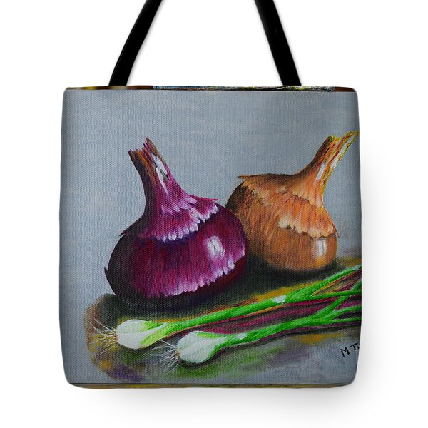 Tote Bag featuring the painting Four Onions by Melvin Turner