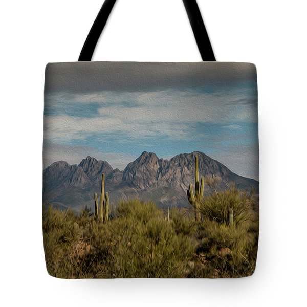 Tote Bag featuring the photograph Four Peaks Painterly by Teresa Wilson