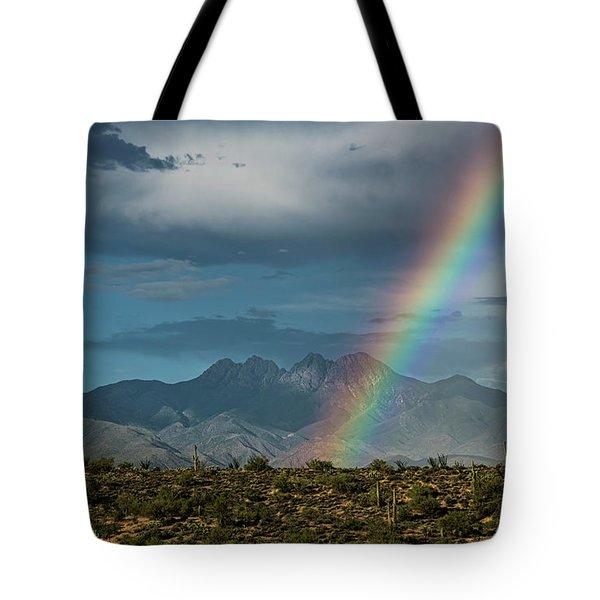 Tote Bag featuring the photograph Four Peaks Rainbow  by Saija Lehtonen