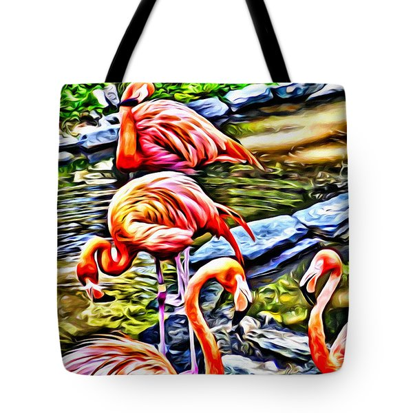 Four Pink Flamingos Tote Bag