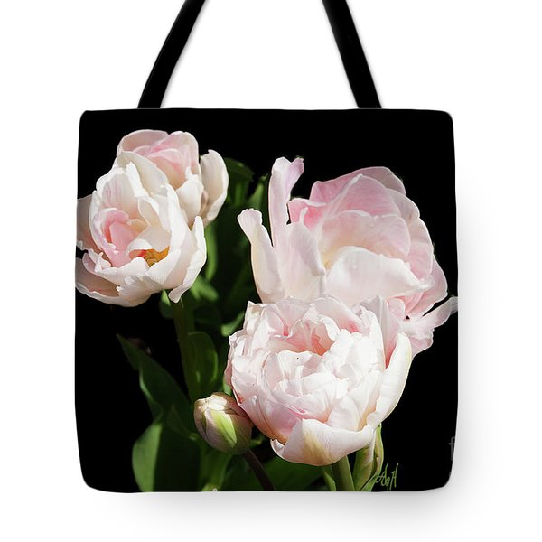 Four Pink Tulips And A Bud On Black Tote Bag