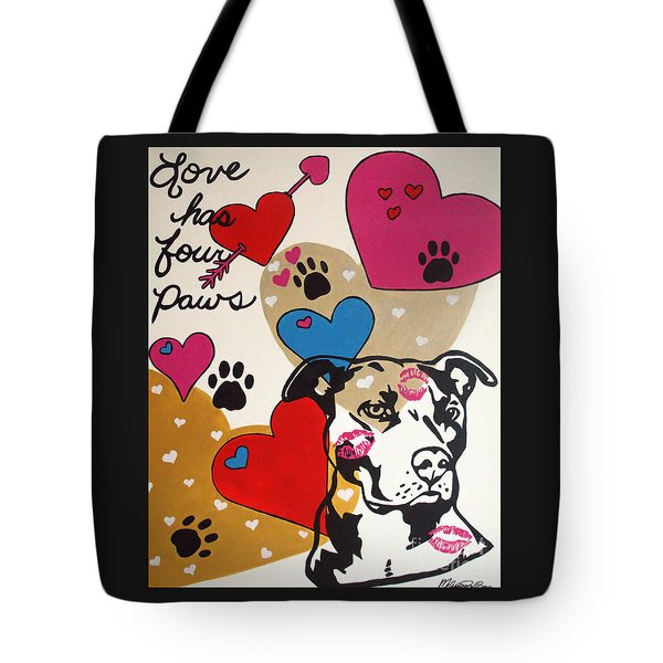Tote Bag featuring the painting Four Pitty Paws by Melissa Goodrich