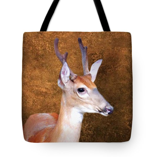 Four Point Buck In Velvet Tote Bag