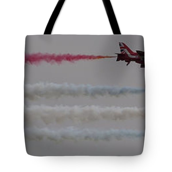 Tote Bag featuring the photograph Four Red Arrows Smoke Trail - Teesside Airshow 2016 by Scott Lyons