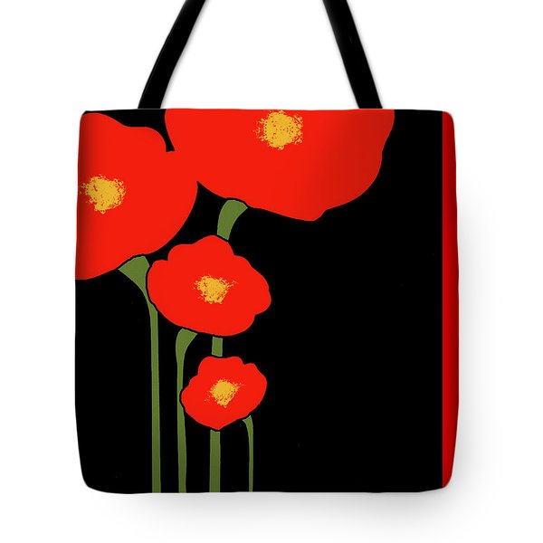 Four Red Flowers On Black Tote Bag