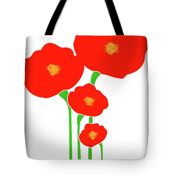 Four Red Flowers Tote Bag