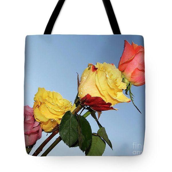Tote Bag featuring the photograph Four Roses by Elvira Ladocki