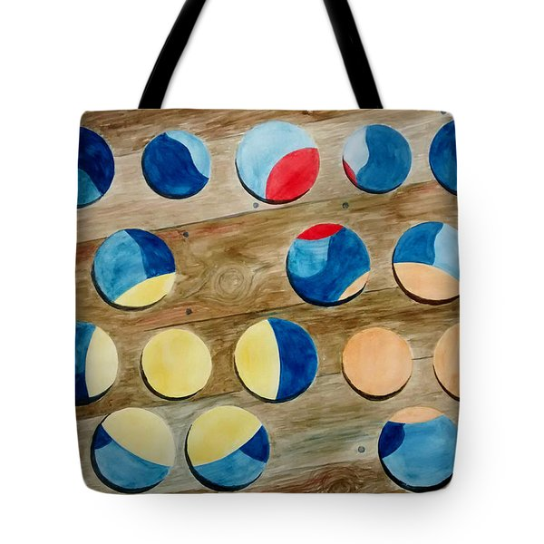 Four Rows Of Circles On Wood Tote Bag by Andrew Gillette