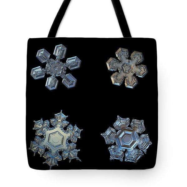 Four Snowflakes On Black 2 Tote Bag
