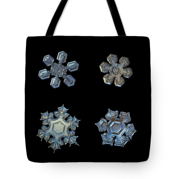 Four Snowflakes On Black 2 Tote Bag