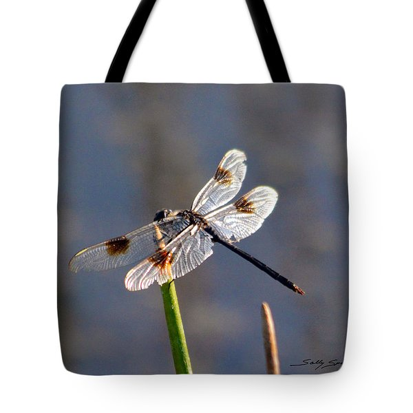 Tote Bag featuring the pyrography Four Spotted Pennant On A Reed by Sally Sperry