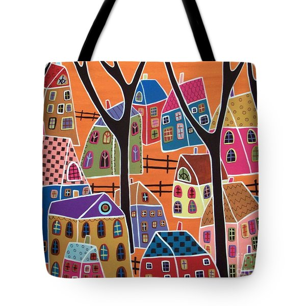 Four Trees And Houses On Orange Tote Bag by Karla Gerard