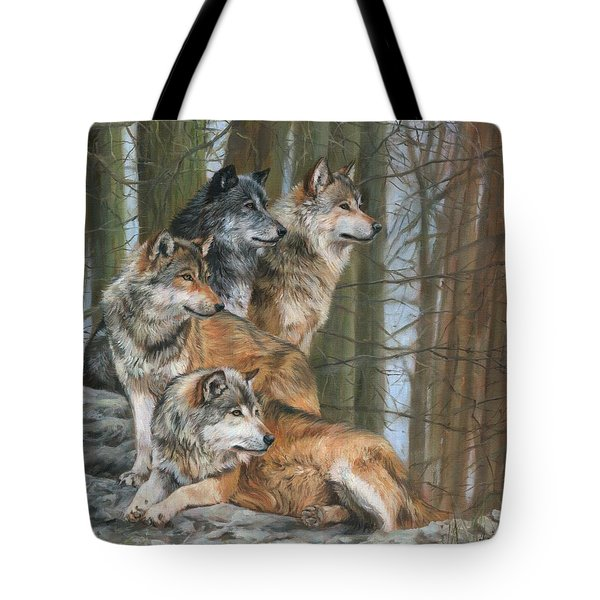 Tote Bag featuring the painting Four Wolves by David Stribbling