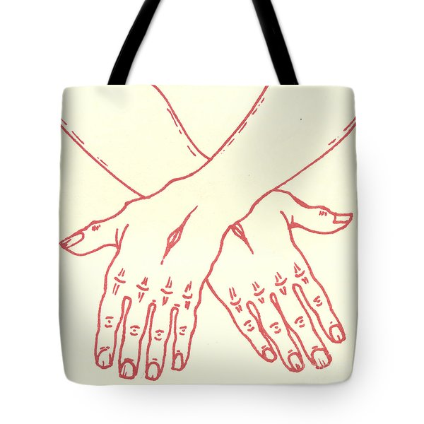 Tote Bag featuring the drawing Fourteenth Station- Jesus Is Laid In The Sepulcher  by William Hart McNichols