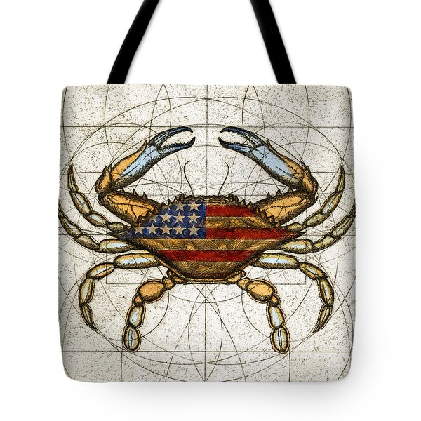 Tote Bag featuring the painting Fourth Of July Crab by Charles Harden