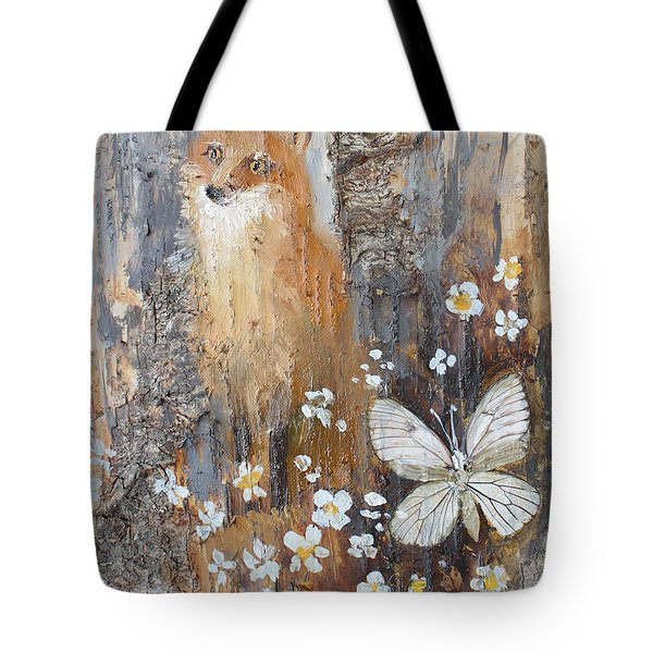 Fox And Butterfly Tote Bag
