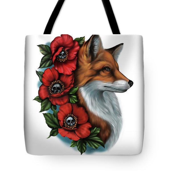 Fox And Poppies Tote Bag