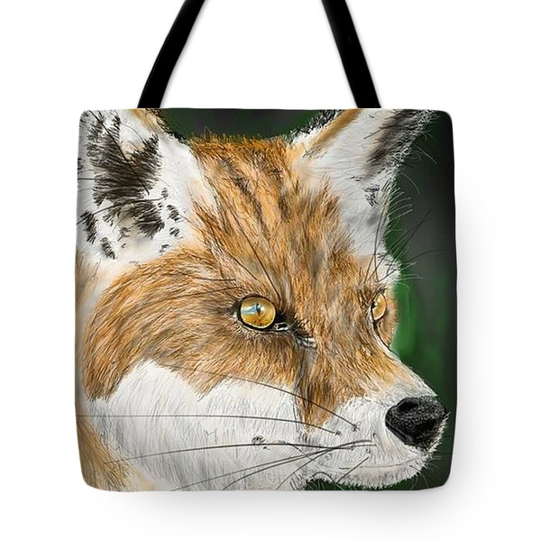 Tote Bag featuring the digital art Fox by Darren Cannell