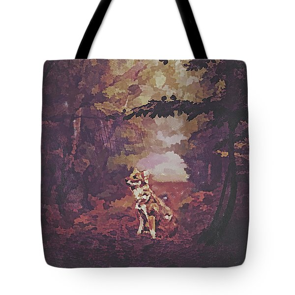 Tote Bag featuring the digital art Fox by Galen Valle