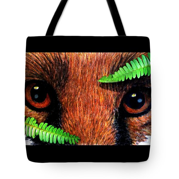 Fox In Hiding Tote Bag by Angela Davies