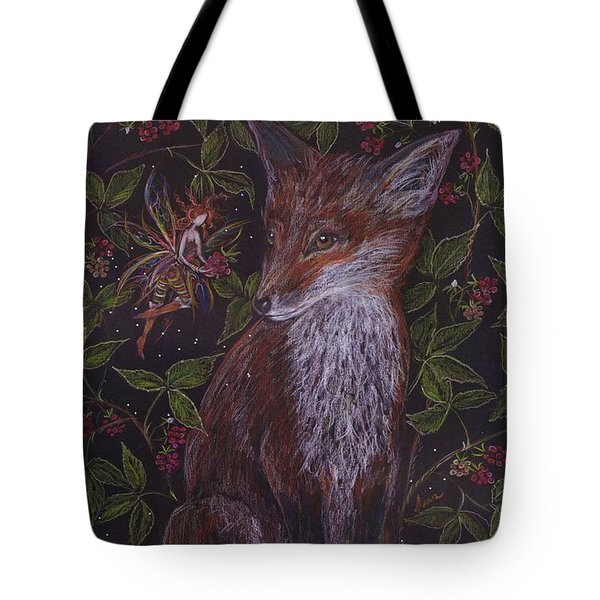Tote Bag featuring the drawing Fox In The Berry Bushes by Dawn Fairies